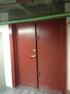 Double fire door, four point lock, high security