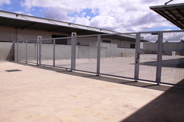 security mesh with vehicle and pedestrian access gates